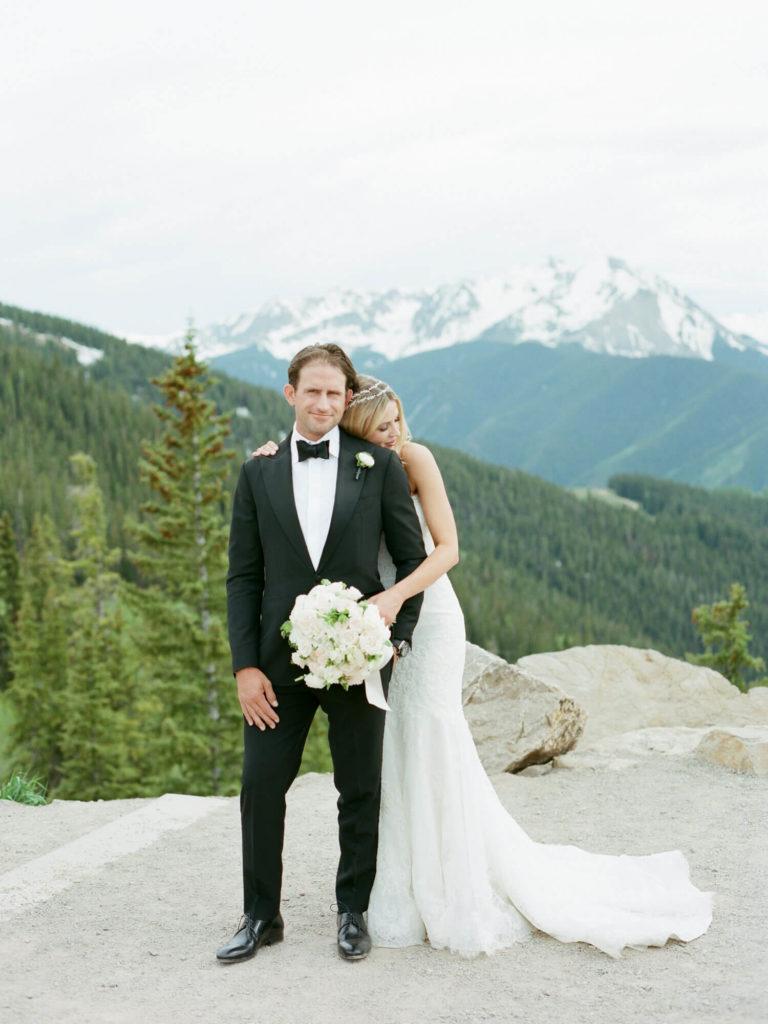 Aspen wedding film photography - bride and groom