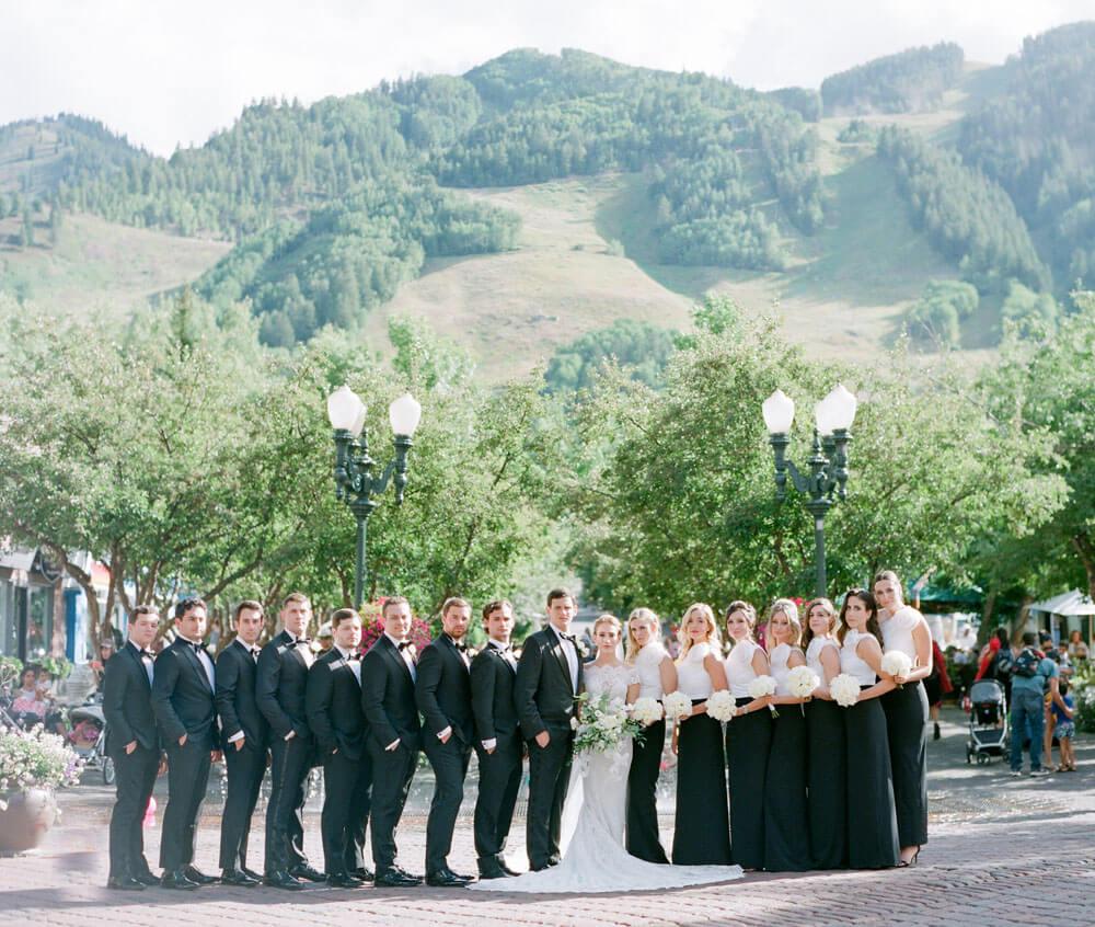 bridal party in downtown Aspen photography by Tara Marolda