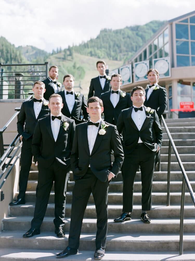 groomsmen photoshoot before taking the gondola to Aspen photo by Tara Marolda