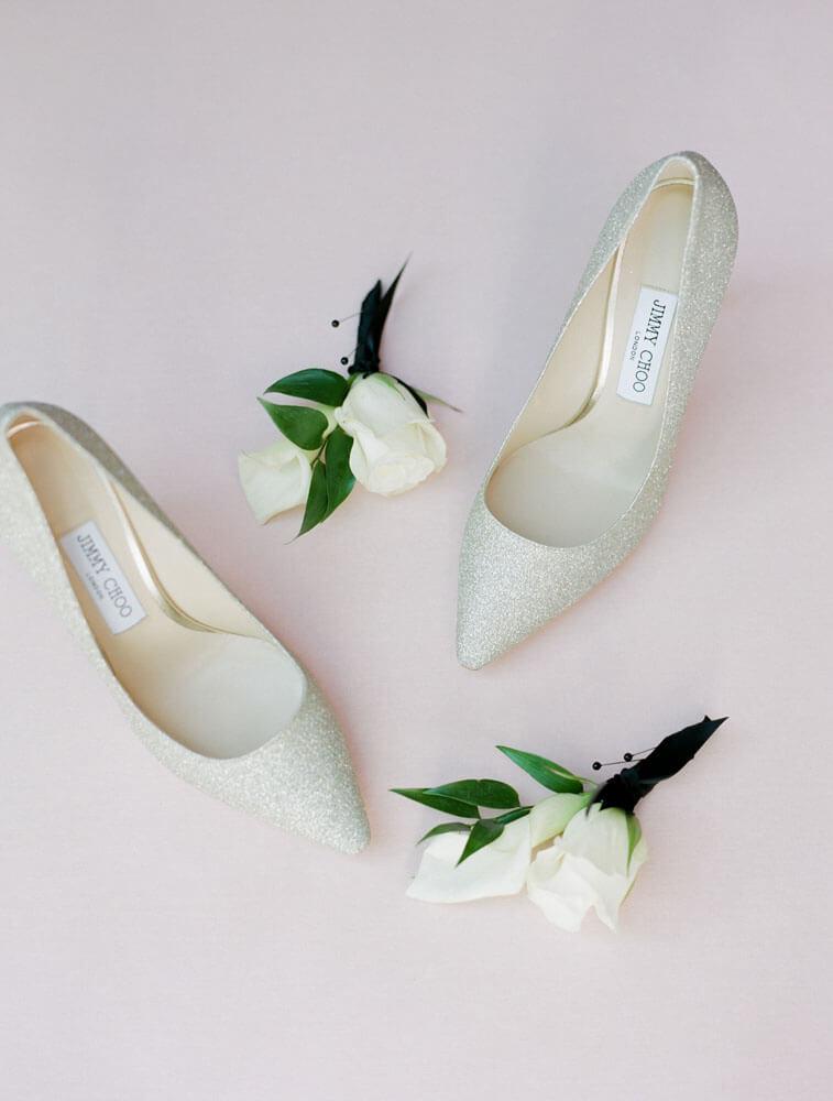 wedding shoes and boutonnières for Aspen wedding photography by Tara Marolda