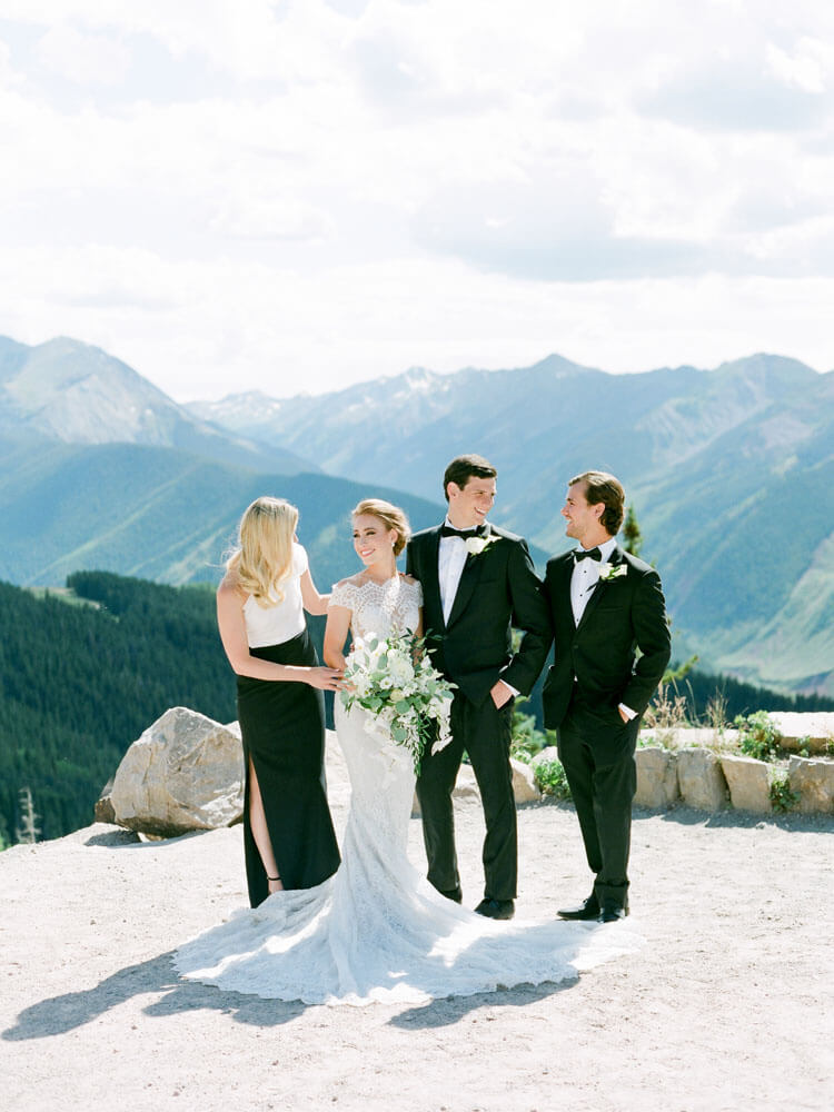 bridal party on the top of Aspen Mountain photography by Tara Marolda
