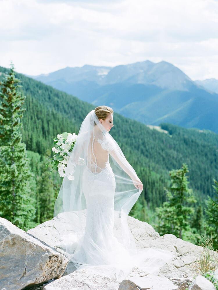 Aspen Wedding bride on Aspen Mountain photography by Tara Marolda