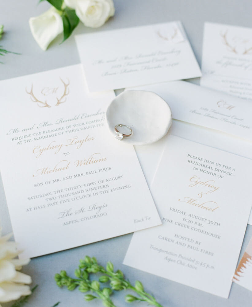 Invitation suite for Aspen bride photography by Tara Marolda